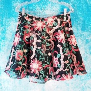 F21 GORGEOUS Embroidered Floral Flared Skirt